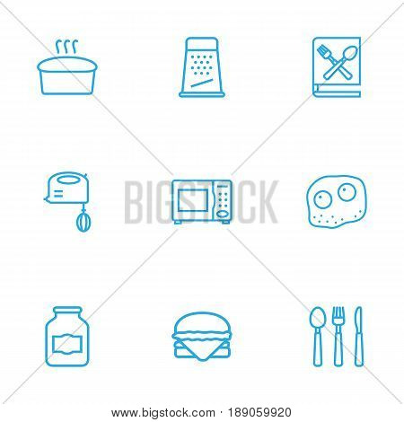 Set Of 9 Culinary Outline Icons Set.Collection Of Bread, Book Of Recipes, Cutlery And Other Elements.