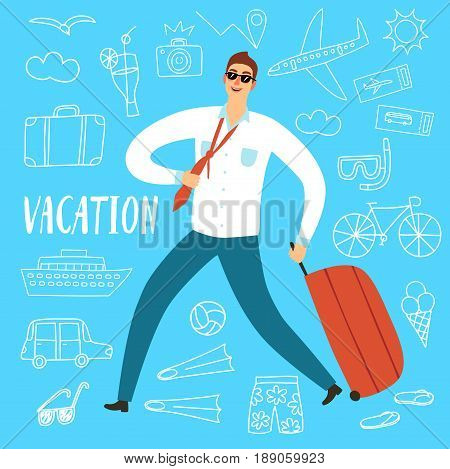 Man worker running with suitcase. Including doodle drawings: airplane ship; suitcase food and different beach stuff. Summer vacation illustration for your design.