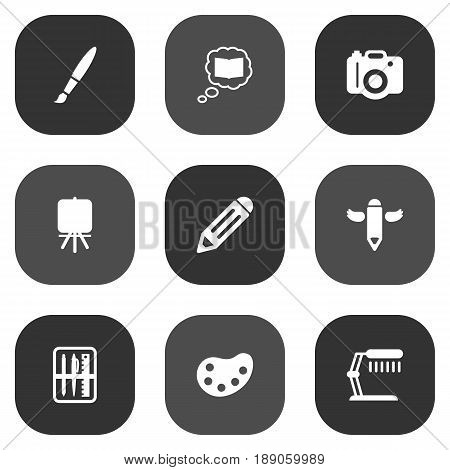 Set Of 9  Icons Set.Collection Of Case, Pen, Science And Other Elements.