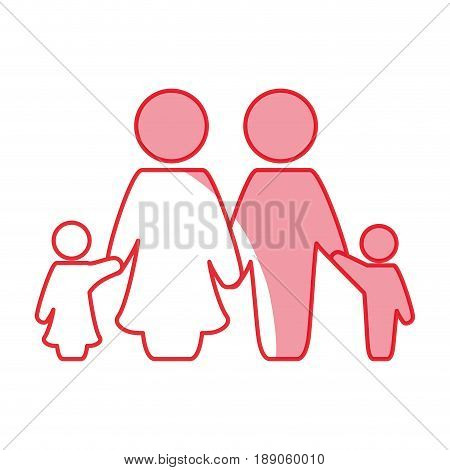 silhouette nice family together with parents and children vector illustration