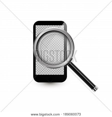 Mobile Phone And Realistic Magnifying Glass.vector Illustration. Smartphone With Transparent Screen