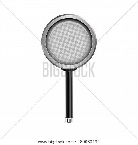 Realistic Magnifying Glass. Vector Illustration. Round Loupe Icon With Transparent Glass. Analytics,