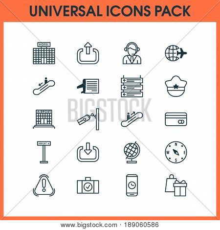Transportation Icons Set. Collection Of Video Surveillance, Airplane Information, Resort Development And Other Elements. Also Includes Symbols Such As World, Operator, Worldwide.