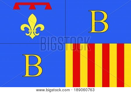 Flag of Brignoles is a commune in the Var departement in the Provence-Alpes-Cote d'Azur region in southern France