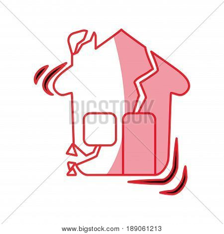 silhouette house earthquake desaster and natural destrution vector illustration