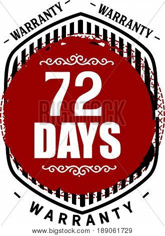 72 days warranty icon vector vintage grunge guarantee background poster