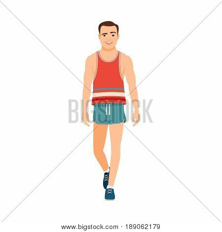 Strong guy in a T-shirt and shorts isolated vector illustration on white background
