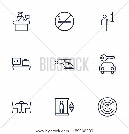Set Of 9 Airplane Outline Icons Set.Collection Of No Smoking, Cafe, Passport Controller And Other Elements.