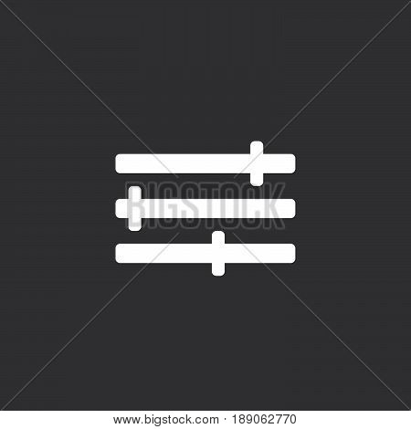 settings icon vector isolated on black .