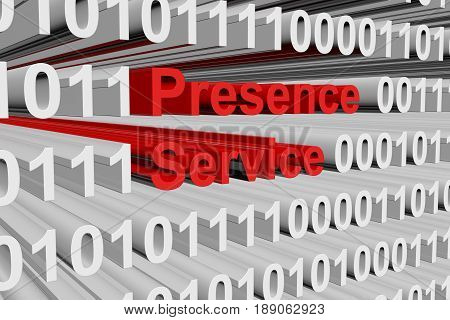 Presence service in the form of binary code, 3D illustration
