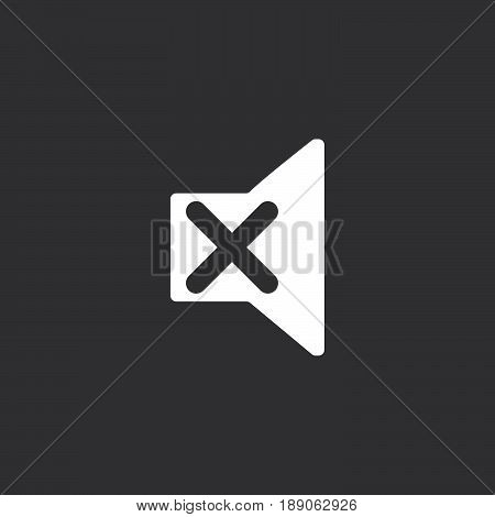mute icon vector isolated on black .