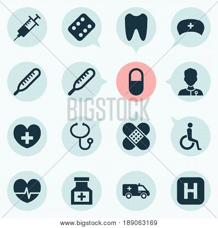Antibiotic Icons Set. Collection Of Rhythm, Mercury, Drug And Other Elements. Also Includes Symbols Such As Heal, Plaster, Heartbeat.