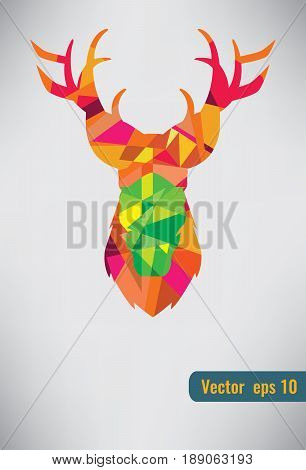 Deer triangle stag low design. Low poly deer hipster