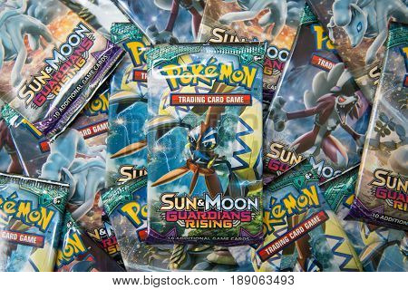 Bratislava, Slovakia, June 1, 2017: Pokemon Sun and moon Guardians Rising edition booster packs with different pictures in the front