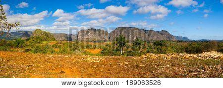 Famous Cuba farmland tobacco area Valley de Vinales Pinar del Rio Cuba.