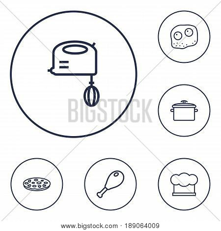 Set Of 6 Cooking Outline Icons Set.Collection Of Hat, Mixer, Chicken Leg And Other Elements.