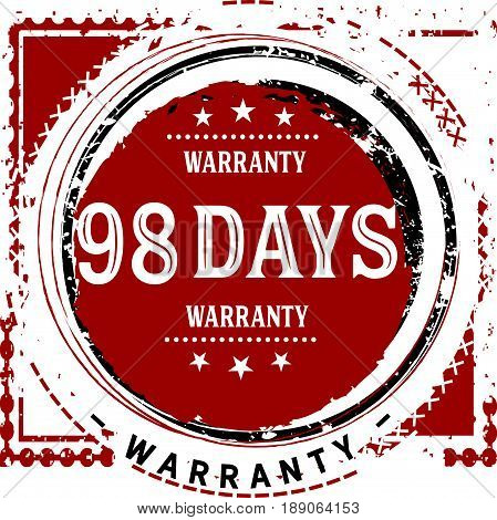 98 days warranty vintage grunge rubber stamp guarantee background poster