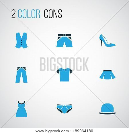 Dress Colorful Icons Set. Collection Of T-Shirt, Panama, Dress And Other Elements. Also Includes Symbols Such As Outfit, Fedora, Feminine.
