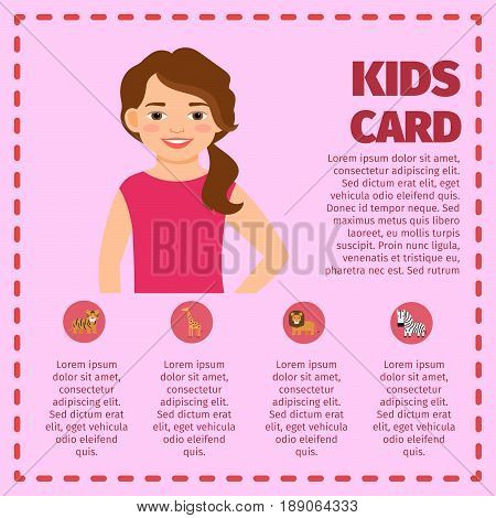 Kids infographic with girl and zoo animals. Vector illustration
