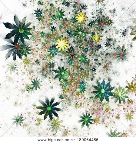 Abstract Exotic Green And Yellow Flowers On White Background. Fantasy Fractal Design. Psychedelic Di