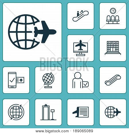 Travel Icons Set. Collection Of Security Scanner, Timetable, World And Other Elements. Also Includes Symbols Such As Reservation, Escalator, Globetrotter.