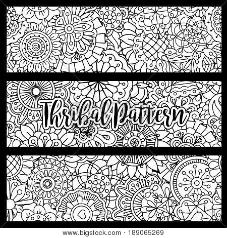 Horizontal flyers with black and white tribal pattern. Vector illustration