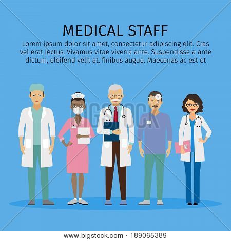 Team of doctors and other hospital workers stand together. Vector illustration