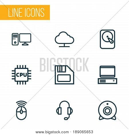 Computer Outline Icons Set. Collection Of Camera, PC, Earphones And Other Elements. Also Includes Symbols Such As Device, Cam, Diskette.