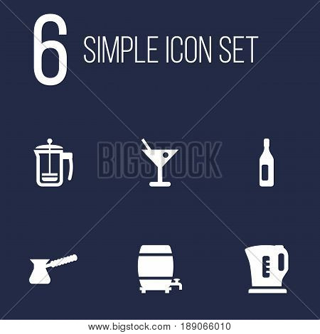 Set Of 6 Drinks Icons Set.Collection Of Wine, Electric Teapot, Drink And Other Elements.