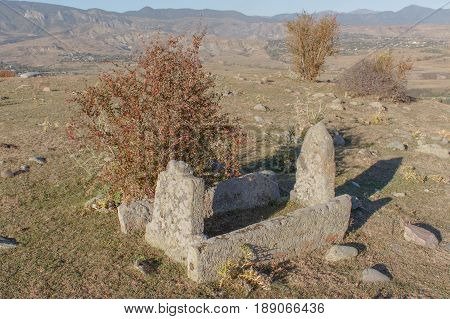 Old terrible abandoned graves in Muslims cemetery. old graves with no names on them