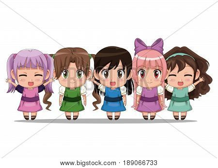 colorful set five full body cute anime tennagers girls facial expression vector illustration