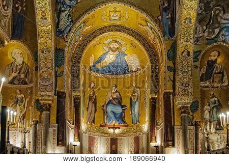 Medieval Byzantine style mosaic of Christ Pantocrator above the altar of the Palatine Chapel (Cappella Palatina) - Palermo Sicily Italy, 20 October 2011