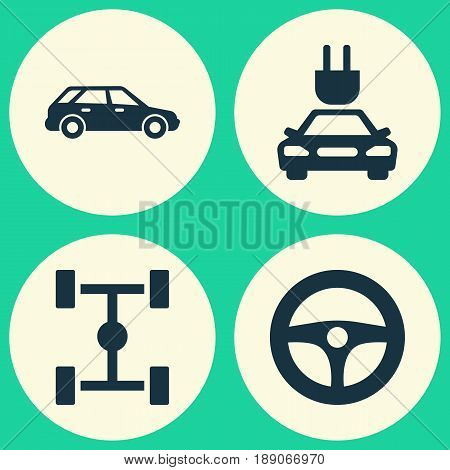 Auto Icons Set. Collection Of Plug, Hatchback, Drive Control And Other Elements. Also Includes Symbols Such As Car, Station, Plug.