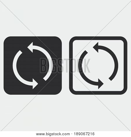 sync icon solid and outline isolated on grey