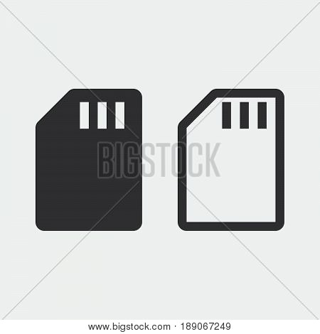 sd card icon solid and outline isolated on grey