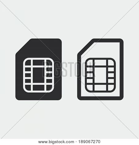 sim card icon solid and outline isolated on grey