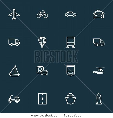 Shipment Outline Icons Set. Collection Of Camion, Sailing Ship, Taxi And Other Elements. Also Includes Symbols Such As Balloon, Helicopter, Motor.