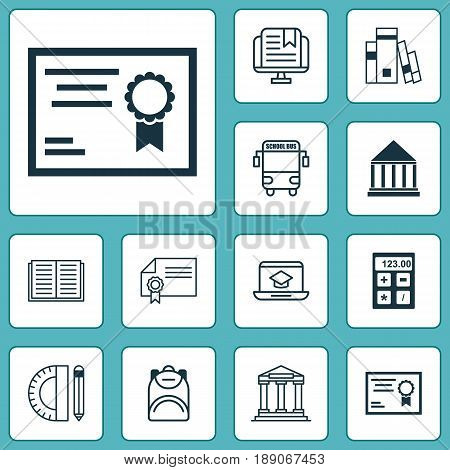 School Icons Set. Collection Of Distance Learning, Haversack, Education Tools And Other Elements. Also Includes Symbols Such As Book, Bus, Learning.