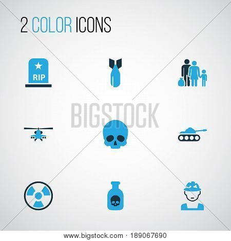 Combat Colorful Icons Set. Collection Of Bio Hazard, Grave, Tank And Other Elements. Also Includes Symbols Such As Venom, Cranium, Skull.