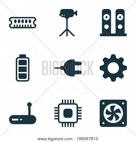 Hardware Icons Set. Collection Of Computer Ventilation, Camcorder, Loudspeakers And Other Elements. Also Includes Symbols Such As Wifi, Dynamic, Connector.