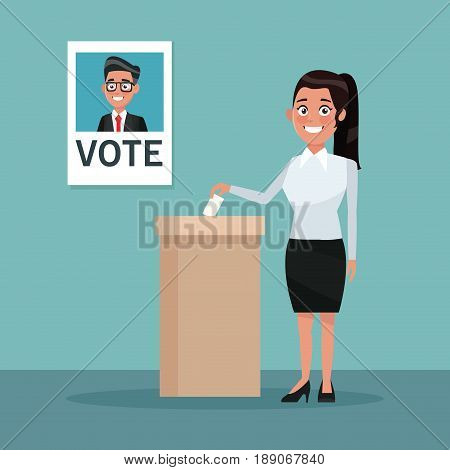 background scene woman in coat and skirt vote for male candidate with ponytail hairstyle vector illustration
