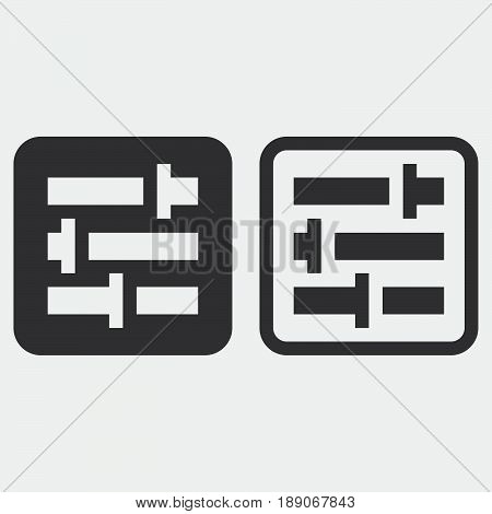 settings icon solid and outline isolated on grey