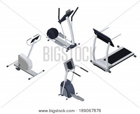 Spots cardio isometric equipment set with elliptical machine, stepper, bicycle, treadmill infographic fitness vector illustration