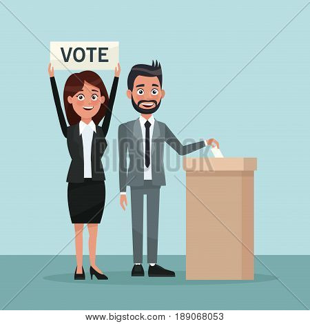 background scene man in formal suit vote in urn for candidate and woman with banner vector illustration