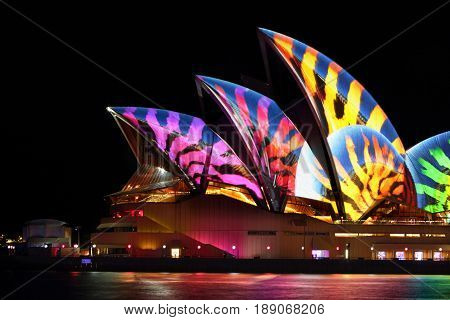 SYDNEY AUSTRALIA - MAY 31 2017; Sydney Opera House illuminated with various animated designs