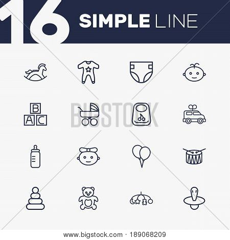 Set Of 16 Child Outline Icons Set.Collection Of Boy, Teddy, Carriage And Other Elements.