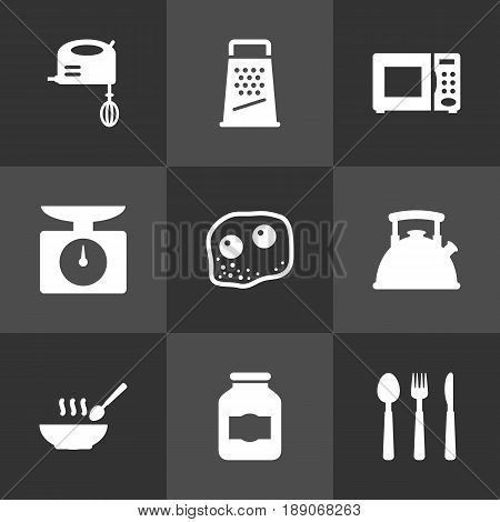Set Of 9 Culinary Icons Set.Collection Of Blender, Silverware, Broth And Other Elements.