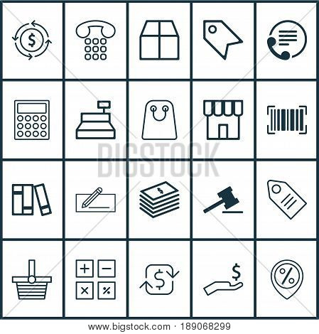 Ecommerce Icons Set. Collection Of Bookshelf, Money Transfer, Callcentre And Other Elements. Also Includes Symbols Such As Rich, Cashbox, Bag.