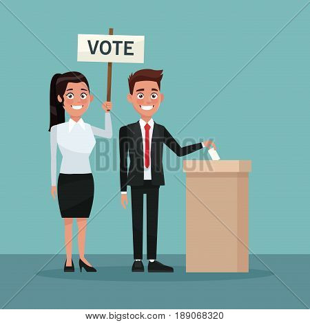 background scene man in formal suit vote in urn for candidate and woman ponytail hairstyle with poster vector illustration