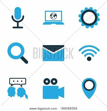 Social Colorful Icons Set. Collection Of Cogwheel, Dialog, Social Web And Other Elements. Also Includes Symbols Such As Chat, Dialog, Cogwheel.